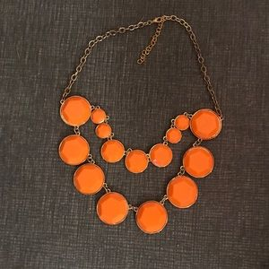 Jewelry - Orange/gold statement double strand bead necklace